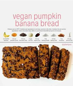 This vegan pumpkin banana bread is a major hit! Not only is it packed with flavour but its a healthy treat you can serve Healthy Desayunos, Healthy Vegan Desserts, Healthy Dessert Recipes, Vegan Snacks, Healthy Baking, Whole Food Recipes, Vegan Recipes, Cooking Recipes, Pumpkin Banana Bread