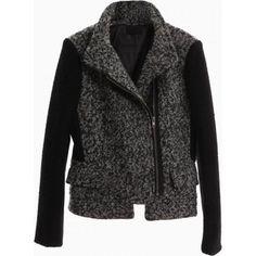 Gray Duffle Coat Contrast Panel - Choies.com