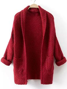 Red Long Sleeve Pockets Knit Cardigan -SheIn(abaday)
