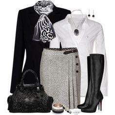 Ideas de outfits para este otoño. Colores clave - blanco, negro, gris...