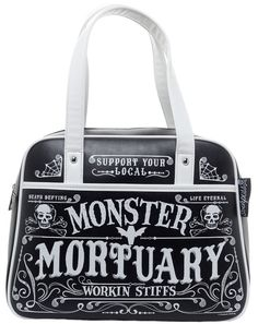 SOURPUSS WORKING STIFFS BOWLER PURSE - Support your local Monster Mortuary, only working stiffs allowed. This faux leather, black purse features sturdy handles, zip top closure, outside pocket with magnetic snap, and white contrast piping and detail. Take a gander inside to find a silky lining with segmented pouches and a zipper pocket. Perfect for storing all your nefarious needs!
