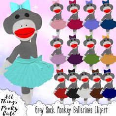 Gray Sock Monkey Ballerina Clipart, commercial use clipart, sock monkey party, sock monkey invite, sock monkey birthday, sock monkey digital Baby Shower Clipart, Nursery Decor, Minnie Mouse, Clip Art, Kawaii, Ballet, Unique Jewelry, Handmade Gifts, Disney Princess