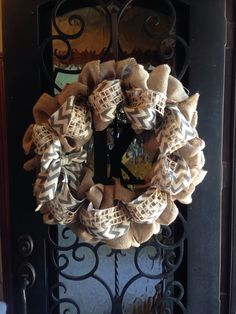 Made this burlap & chevron burlap layered wreath with a painted wood Initial for our front door. Thanks for the tutorials & ideas Pinterest!