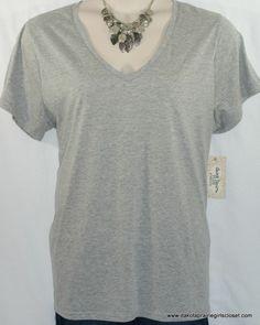 6d43886f963 Derek Heart Plus Top Size 3X Knit V-Neck Short Sleeve Gray NEW NWT