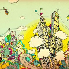 illustration - colourful city