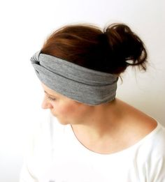 Twisted GREY Headband Hair Wrap Gray Stretch Hair by stunninglooks, €9.00