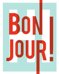 Bonjour art print, French modern typography, red and blue, 8x10, download
