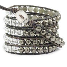 Labradorite and Pyrite Mix Wrap Bracelet on Natural Grey Leather - Chan Luu