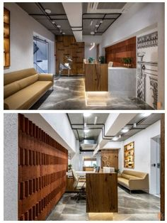 Office Reception Design, Hidden Pantry, Brick Cladding, Veneer Panels, Space Projects, Exposed Concrete, Waiting Area, Workplace Design, Modern Spaces