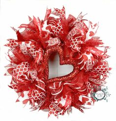 Valentine's Day Red/White Heart Deco Mesh Wreath - Custom Order by Wreaths Etc by Lisa