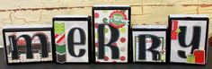 Make it Merry with these Simple Stories altered wood blocks by Lisa VB