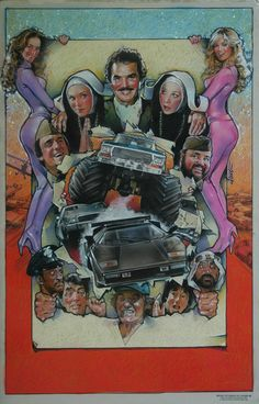 """Cannonball Run II"" by Drew Struzan (Warner Brothers, 1984). acrylic on illustration board (30"" X 40"")"