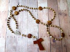 Brown and beige Franciscan Crown Rosary of by secondarycreations