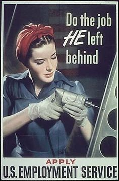 War jobs for women - in 1945, almost 30% of the U.S. workforce, close to 20 million, was female!