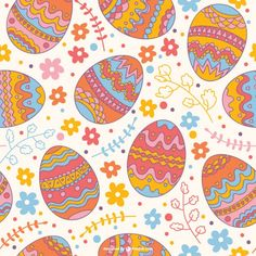 Easter seamless pattern Free Vector