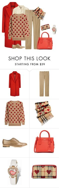"""""""outfit 5401"""" by natalyag ❤ liked on Polyvore featuring Jaeger, Uniqlo, Burberry, Y's by Yohji Yamamoto, Kate Spade and Hello Kitty"""
