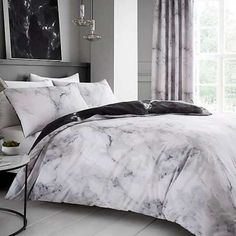 Bedding Duvet Cover Set Single White Grey Marble Pattern Modern Style Microfiber Quilt Cover with Zipper Closure Bedding Set for Boys and Girls Duvet Bedding Sets, Bedding Sets Online, Bed Duvet Covers, Luxury Bedding Sets, Duvet Cover Sets, Teen Bedding Sets, Gold Bedding, King Comforter, Marble Bed Set