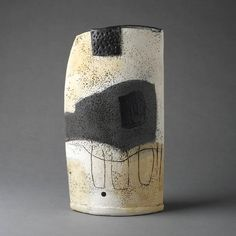 Painted Ceramic Form V (2012)  slab built red earthenware with underglazes, slips, engobes and glazes  h. 38 x w. 21 cm  Camilla Ward
