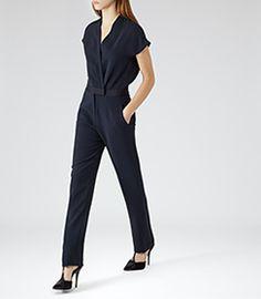 Augusta Lux Navy Wrap-style Jumpsuit - REISS