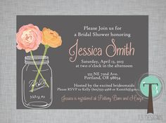 Mason Jar Invitation Bridal Shower Invitation by T3DesignsCo, $12.99