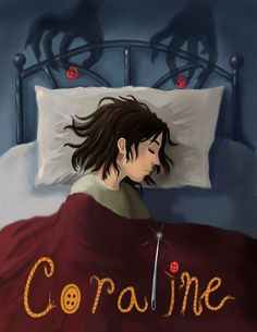 """My favorite book """"Coraline"""" by Neil Gaiman, the movie will be coming out soon as well. This was a homework assignment for my Computer illustration Class. Coraline Jones, Coraline Book, Neil Gaiman, Estilo Tim Burton, Tim Burton Art, Dark Nursery, Motion Wallpapers, Laika Studios, Kubo And The Two Strings"""