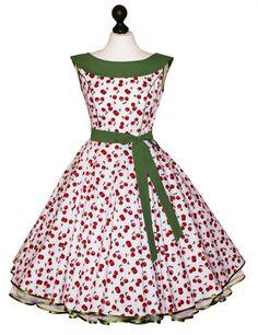 50er Petticoatkleid Weiß Grün Rot Kirschen Cherry von Charlott-Atelier / 50er- Mode auf DaWanda.com