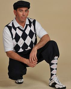 Navy with Argyle socks and sweater.