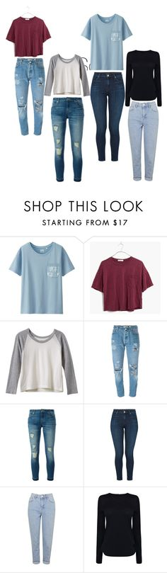 """""""Back to School Inspiration"""" by emiipear ❤ liked on Polyvore featuring Uniqlo, Madewell, RVCA, Levi's, MICHAEL Michael Kors, J Brand, Topshop and Helmut Lang"""