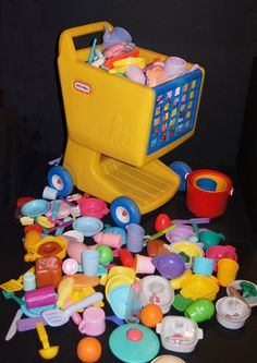 KIDS Shopping Grocery Store Cart LOADED with PLAY FOOD LITTLE TIKES FISHER PRICE #LittleTikes