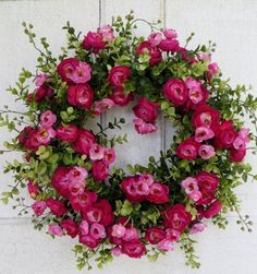 Gorgeous Pink Ranunculus Summer wreath Spring by WaysideFlorals