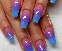 Cute Acrylic Nail Designs, Long Nail Designs, Ombre Nail Designs, Nail Art Designs, Nails Design, Pedicure Nail Designs, Nagellack Design, Nagellack Trends, Summer Acrylic Nails