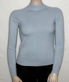 ab24ce5cd31 NEW Mercer Street Studio Petite SMALL Long Sleeve Mock Neck Sweater BLUE   MercerStreetStudio  Mockneck  Anytime
