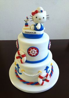 Nautical Hello Kitty Cake - Hello Kitty nautical theme.  All marshmallow fondant including Kitty topper.  Wire wiskers colored with black.