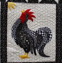 Can't find the post about this item - inspiration.  Like the use of the various black and white prints to make the rooster.