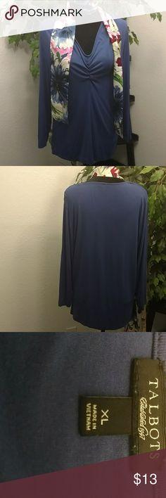 Talbots XL Long Sleeve Blue V-Neck Top 95% Rayon/5% Spandex, Machine Washable Talbots Tops Tees - Long Sleeve