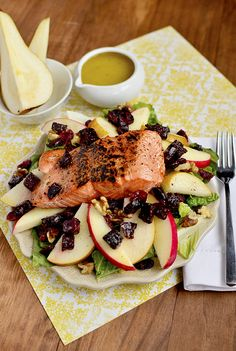 Autumn Salmon Salad with Honey-Apple Cider Vinaigrette by iowagirleats: Hearty and fresh. #Salad #Salmon #Apple #Healthy