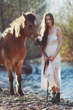 Lacey dress + rugged boots + horse.. the dress is gorgeous!:)