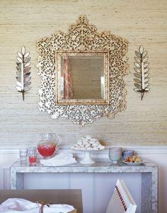 a statement mirror Interior Design: Massucco Warner Miller. Colorful Interior Design, Beautiful Interior Design, Interior Design Inspiration, Colorful Interiors, Beautiful Interiors, Interior Ideas, Ornate Mirror, Mirror Mirror, Console Mirror