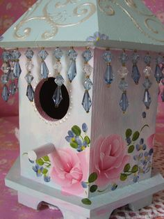 pictures of  shabby pink birdhouses | Hand Painted Birdhouse Shabby Chic Pink Roses Aqua by pinkrose1611