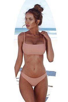 25dd2dc4bec89 Solid Bikini Set Push-up Unpadded Bra Swimsuit Triangle Bather Suit  Swimming Suit Biquini,