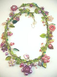 Beaded Necklace Designs   the seed bead vines in this bead floral necklace by designsbymadalynne ...