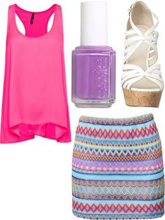 Bright Tribal Print Skirt with Hot Pink Tank, Purple Nails, and White Strappy Heels