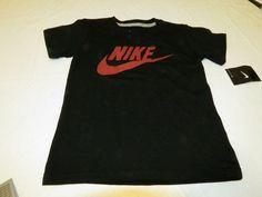Nike youth boys t shirt active 6 kids 8R7065-023 black burgandy swoosh NWT #Nike #Everyday