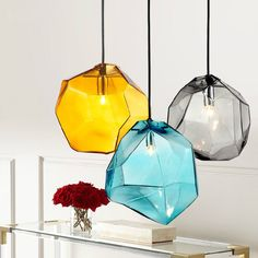 Stone 1-Light Mini Colourful Glass Pendant Light