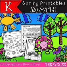 $ NEW Kindergarten Spring NO PREP Math Printables. Great for Spring Review or Practice {TEKS/CCSS}