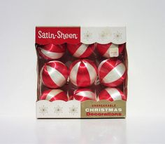 Vintage Box of Red and White Peppermint Satin-Sheen Christmas Tree Ornaments, Holiday Home Decorations, Festive Home Decor. $25.00