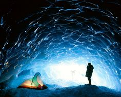 Camping in an ice cave in Canada.  | 28 Images That Will Make You Feel Cooler On This Disgustingly Hot Day