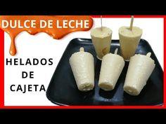 HELADO DE DULCE DE LECHE/ Helados de cajeta /DELICIOSOS HELADOS CASEROS CREMOSOS DE AREQUIPE - YouTube Mexican Bolis Recipe, Homemade Ice Cream, Deserts, Frozen, Dairy, Sweets, Cheese, Snacks, Recipes