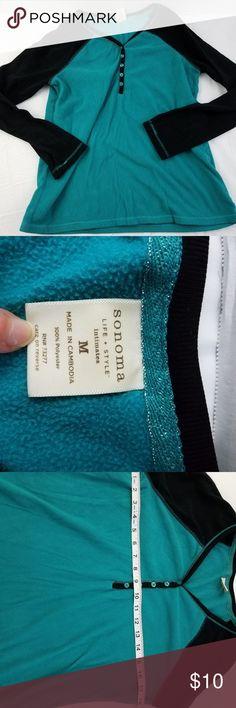 Sonoma Intimates Womens Pajama Top Size Medium Sonoma Intimates Womens Pajama Top Size Medium Teal Black (AW11) Sonoma Intimates & Sleepwear Pajamas