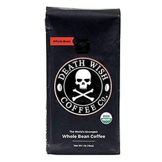 Death Wish Ground Coffee, The World's Strongest Coffee, Fair Trade and USDA Certified Organic, 16 Ounce Best Organic Coffee, Organic Coffee Beans, Fresh Coffee, Blended Coffee, Premium Coffee, Best Espresso Beans, Espresso Coffee, Best Gag Gifts, Hawaiian Coffee